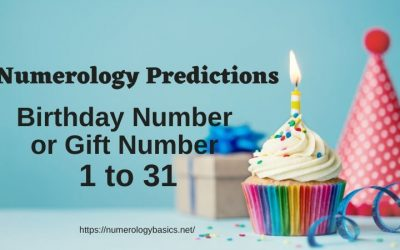 Numerology Birthday Numbers Or Gift Numbers: 1 to 31